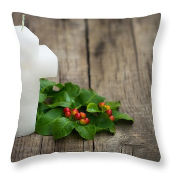 Religious Candle Throw Pillow