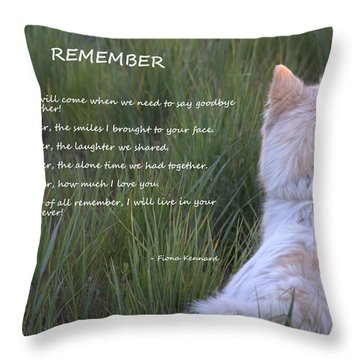 Remember Throw Pillow by Fiona Kennard