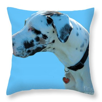 Reminton Jewell - Harlequin Great Dane Throw Pillow by Cheryl Poland