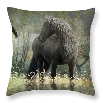 Remme And The Crow Throw Pillow by Fran J Scott