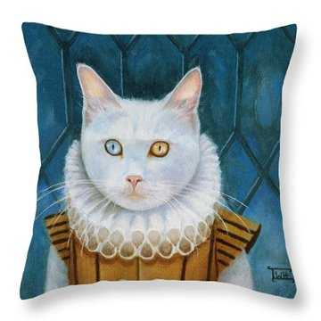 Renaissance Cat Throw Pillow