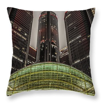 Renaissance Center Detroit Michigan Throw Pillow