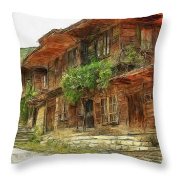Throw Pillow featuring the painting Renaissance Old House - Art by Georgi Dimitrov