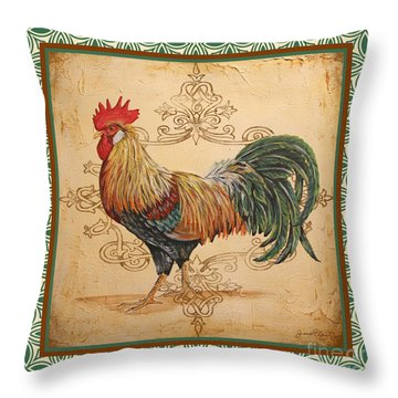 Renaissance Rooster-a-green Throw Pillow by Jean Plout