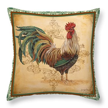 Renaissance Rooster-d-green Throw Pillow by Jean Plout