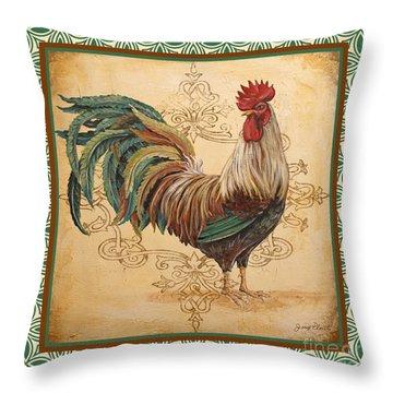 Renaissance Rooster-d-green Throw Pillow