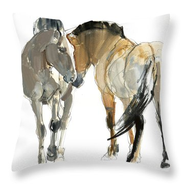 Rencontre Przewalski, 2013, Watercolour And Pigment On Paper Throw Pillow