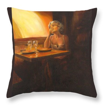 Rendevous At The Indian Restaurant Throw Pillow by Connie Schaertl