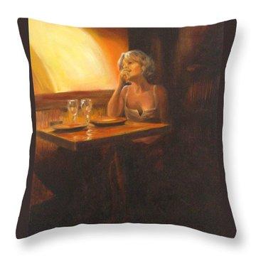 Rendevous At The Indian Restaurant Throw Pillow