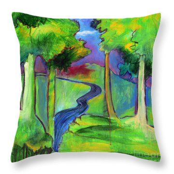 Rendezvous Triptych Throw Pillow by Elizabeth Fontaine-Barr