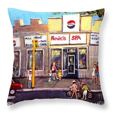 Throw Pillow featuring the painting Renie's Spa In Summertime by Rita Brown
