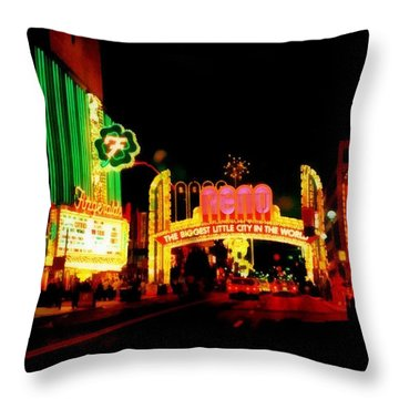 Reno At Night Throw Pillow