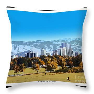 Reno Skyline From Rancho San Rafael Throw Pillow