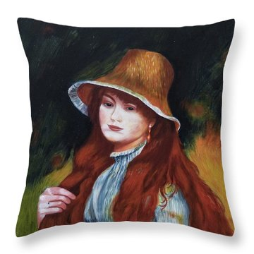 Renoir-young Girl In A Straw Hat Throw Pillow