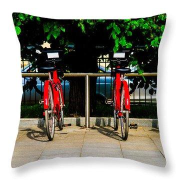 Rent-a-bike - Featured 3 Throw Pillow by Alexander Senin
