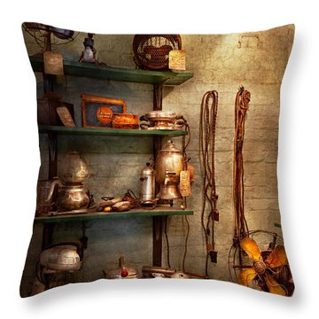 Repair - In The Corner Of A Repair Shop Throw Pillow by Mike Savad