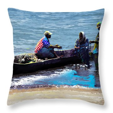 Throw Pillow featuring the painting Repairing The Net At Lake Victoria by Anthony Mwangi