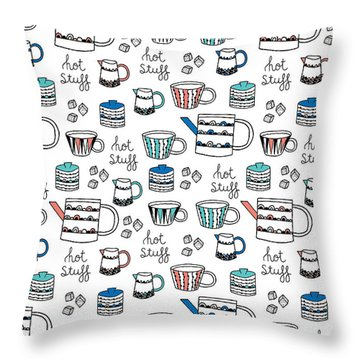 Repeat Print - Swedish Tea Party Throw Pillow by Susan Claire