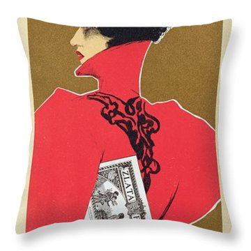 Reproduction Of A Poster Advertising 'zlata Praha' A Weekly Illustrated Newspaper Throw Pillow by Czech School