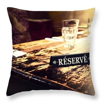 Reservations Required Throw Pillow by Tanya Harrison