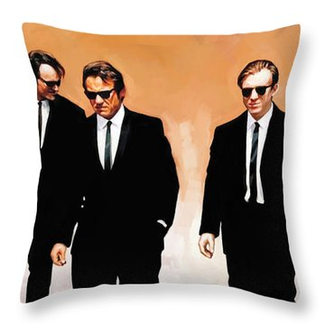 Throw Pillow featuring the painting Reservoir Dogs Movie Artwork 1 by Sheraz A