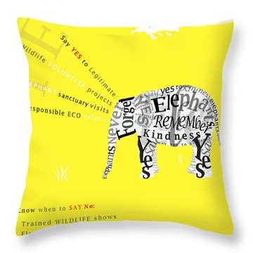 Responsible Tourism Elephant Typography Poster Throw Pillow by Nola Lee Kelsey