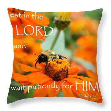 Rest In The Lord Throw Pillow by Barbara Stellwagen