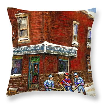 Restaurant Epicerie Jean Guy Pointe St. Charles Montreal Art Verdun Winter Scenes Hockey Paintings   Throw Pillow