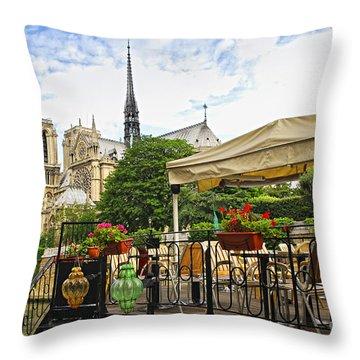 Restaurant On Seine Throw Pillow by Elena Elisseeva