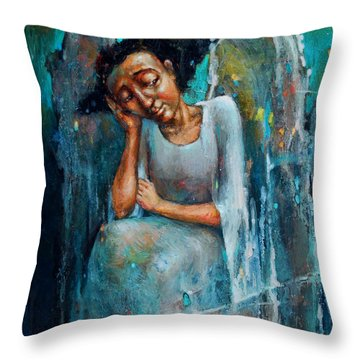 Resting Angel Throw Pillow by Michal Kwarciak