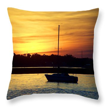 Throw Pillow featuring the photograph Resting In A Mango Sunset by Sandi OReilly