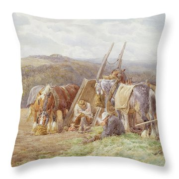 Resting In The Field  Throw Pillow