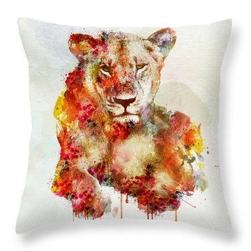 Resting Lioness In Watercolor Throw Pillow