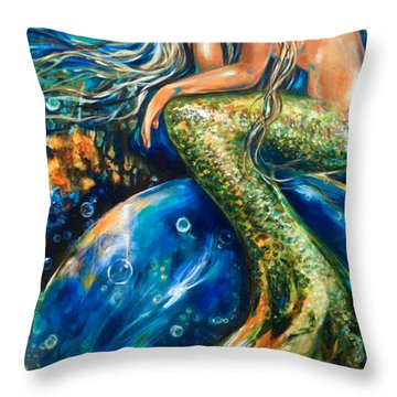 Resting On A Bubble Revised Throw Pillow by Linda Olsen