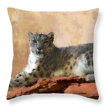 Resting Snow Leopard Throw Pillow by Roger D Hale