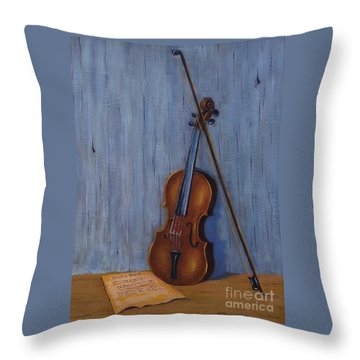 Resting Violin Throw Pillow