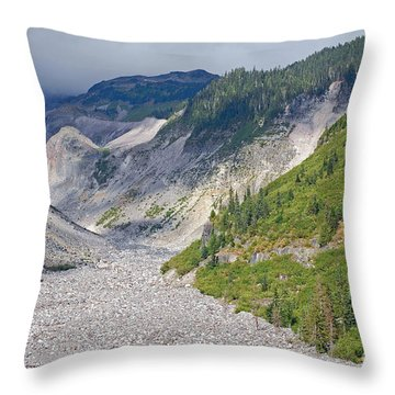 Restless Glaciers At Mount Rainier National Park Throw Pillow by Connie Fox