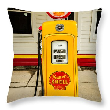 Restored Shell Pump On Route 66 Throw Pillow