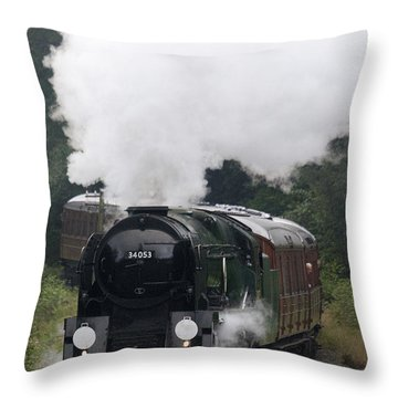 Restored Steam Engine 34053 Throw Pillow