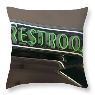 Restrooms In Neon Throw Pillow