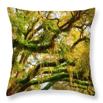 Resurrection Fern Throw Pillow by Carla Parris