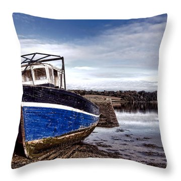 Retired Boat Throw Pillow by Olivier Le Queinec