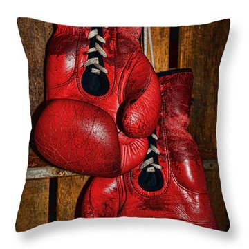 Retired Boxing Gloves Throw Pillow by Paul Ward