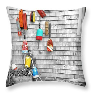 Retired Buoys Throw Pillow by Jean Goodwin Brooks