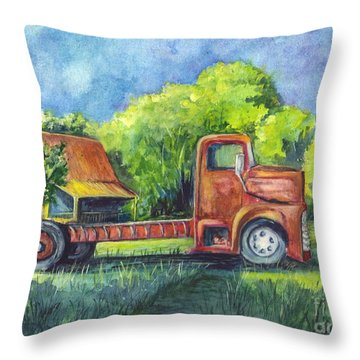 We Have Retired Here Throw Pillow
