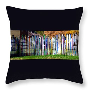 Throw Pillow featuring the photograph Retired Skis  by Jackie Carpenter