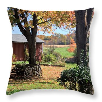 Retired Wagon Throw Pillow