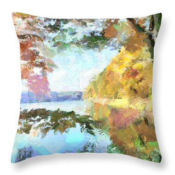 Throw Pillow featuring the painting Retreat By The Lake by Wayne Pascall