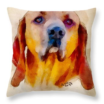 Retriever Throw Pillow by Greg Collins