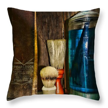 Retro Barber Tools Throw Pillow by Paul Ward